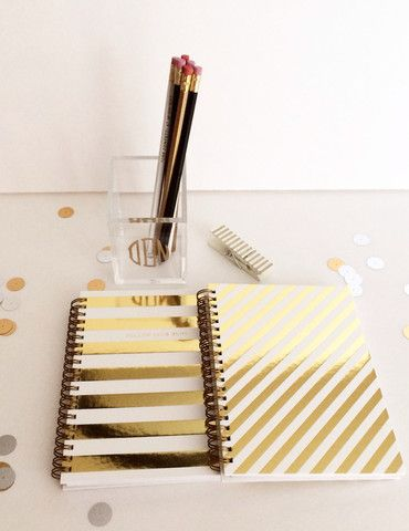 Love these Gold Foil Stripe Notebooks http://rstyle.me/n/emjsunyg6