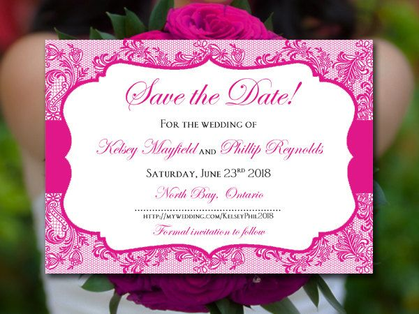"""Save the Date Wedding Announcement Begonia Wedding """"Chic Lace"""" Instant Download…"""