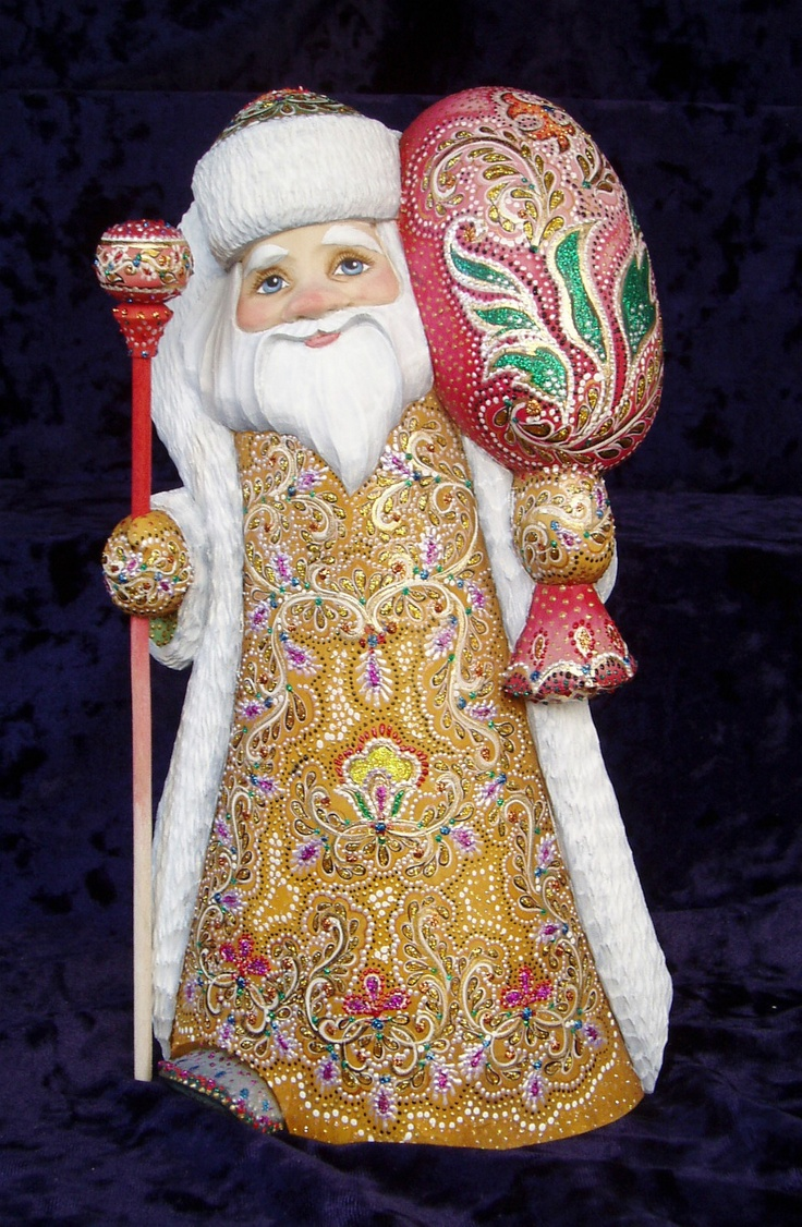 """Gorgeous Russian Hand Carved Wood Santa Father Frost 12 """""""