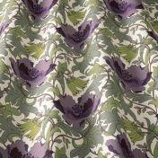 art deco art nouveau  purple flat-weave curtain and upholstery fabric - Art Nouveau  Amethyst Flowers
