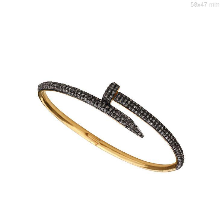 925 Sterling Silver Natural 1.9Ct Diamond Pave Designer Bangle Bracelet Jewelry #Handmade