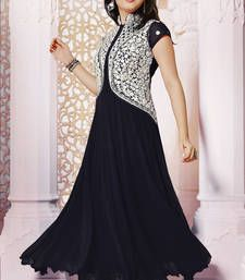 Buy Black embroidered Georgette salwar with dupatta salwar with dupatta anarkali-salwar-kameez online