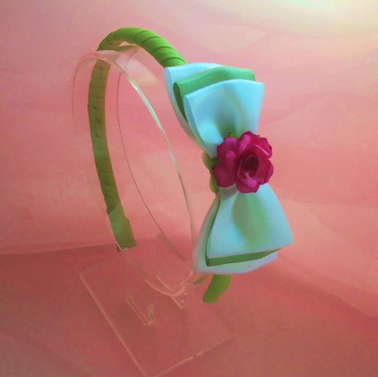 Plastic Grosgrain Ribbon Wrapped Headband - Resin Headband - Apple Green & White Satin Bow - Girls ages 3 years and up - Free Shipping by MaPetiteDiva on Etsy