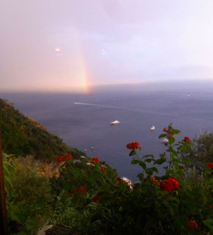 rainbow in positano, italy