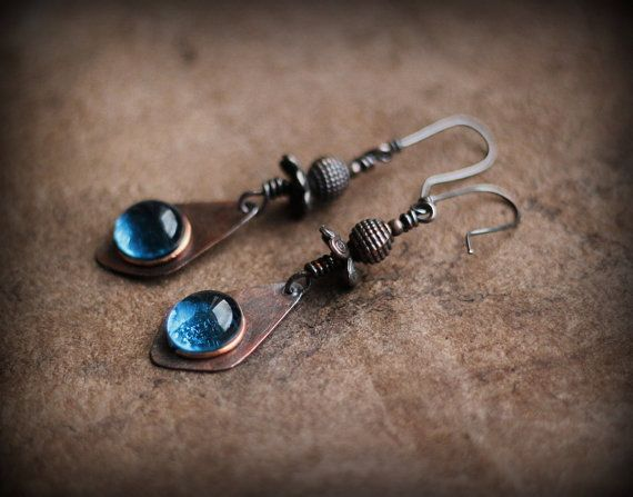 Dangle Drop Earrings Morning Dew Drops Copper and Blue by Triballa