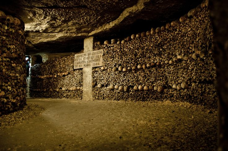 "easytobearound: "" samtrak: "" Les Catacombes - Paris 2012 400 ft below the surface of Paris exists one of the scariest and coolest places on earth. The bones of over 6 million people are still interred..."