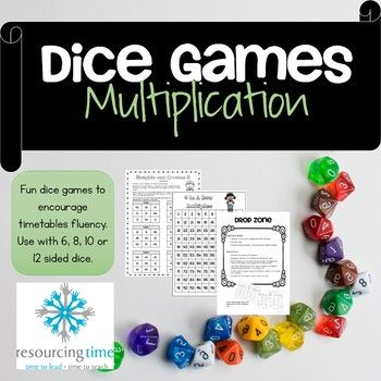 Watch your students develop speed and fluency in multiplication with these fun dice games! Use in your Maths groups or centres. Allows for differentiation and use the different game boards to focus on different times tables. Allows students to use 6, 8, 10 or 12 sided dice depending on their