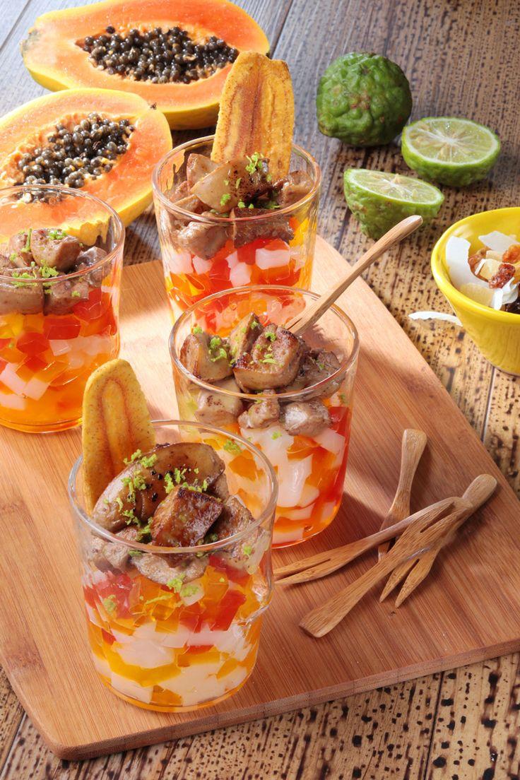 Le #FoieGras met les petits plats dans les grands avec ses verrines combinant fraîcheur et  exotisme !  #recette