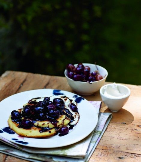 These Ricotta, pomegranate and molasses pancakes look scrummy!
