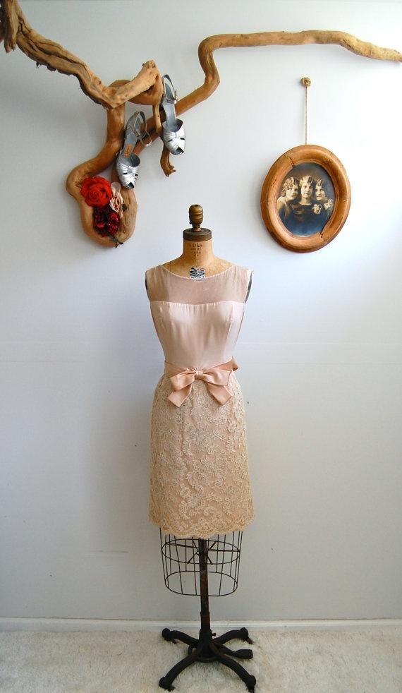 1950s blush cocktail dress. | via Bohemian Bisoux Vintage/Etsy.: Rose, Bohemianbisoux