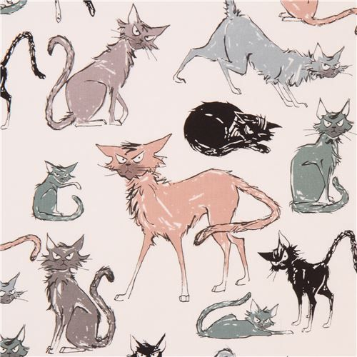light cream Alexander Henry fabric angry cat animal 1