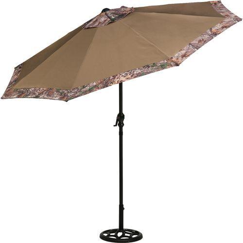 The Mosaic 9 Round Steel Camo Market Umbrella Features A