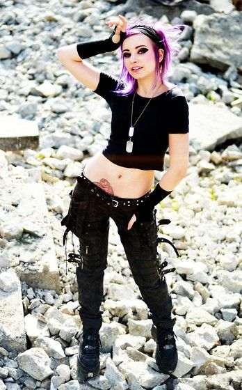 Get this look: http://lb.nu/look/7284416 More looks by Soki Spawn: http://lb.nu/sokispawn Items in this look: Punk Rave Pants, New Rock Boots #postapo #goth #punk #visualkei #black