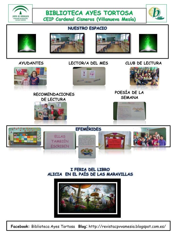 Servicios, programas y actuaciones de la biblioteca escolar Ayes Tortosa del CEIP Cardenal Ciscenos, Villanueva de Mesía, Vía Begoña Barnes