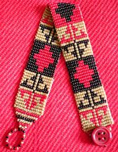 "Indian Bracelet # 2 at Sova-Enterprises.com Generously enlarged full-color, flat mode Beadscape pattern and bead color chart.  Project Type: Bead Stitch: Loom/Square Beads Used: Czech size 15 seed beads Approx Finished Size: 3/4"" x desired length Pages To Print: 1  Designer/Supplier: Lenni Cramer"