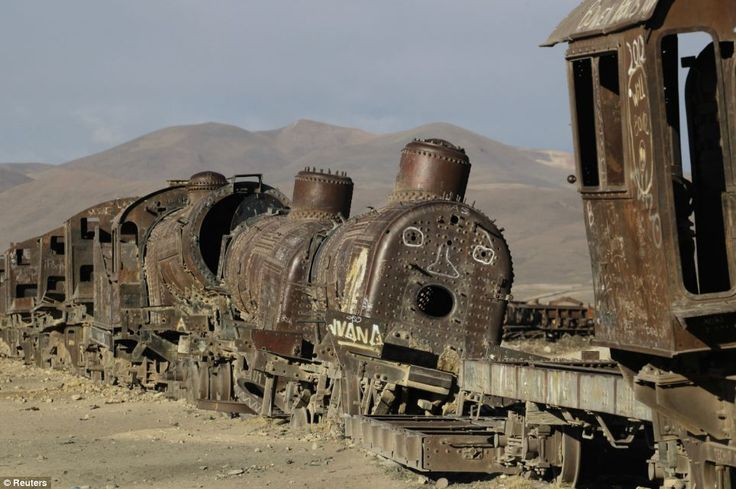 Old locomotives are seen in a train cemetery in Uyuni, near a salt flat some 290 miles south of La Paz