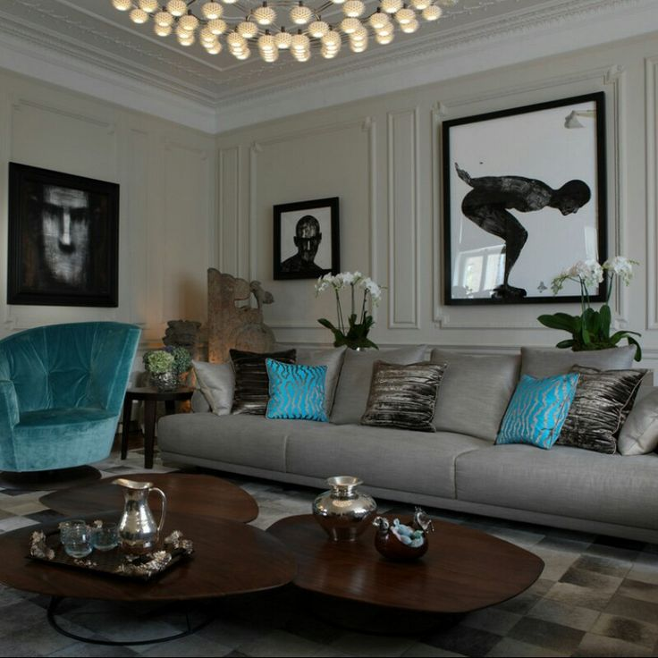 Blue And Grey Living Room Fro Houzz