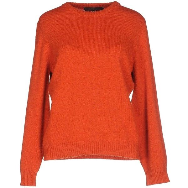 Space Style Concept Sweater ($94) ❤ liked on Polyvore featuring tops, sweaters, orange, long sleeve tops, red sweater, lightweight sweaters, long sleeve sweater and red long sleeve top