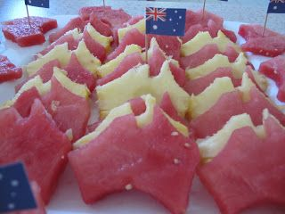 Australia day snacks - watermelon and pineapple fruit cut with an Australia shaped cookie cutter. too clever. #Australia #Food #Fruit