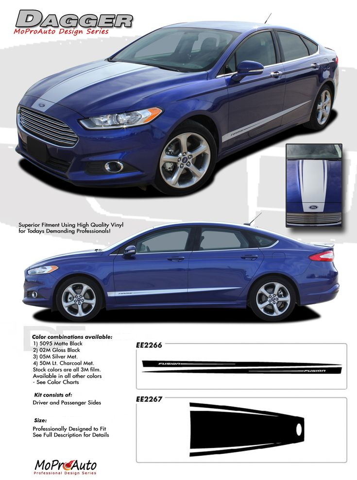 DAGGER : 2013 2014 Ford Fusion Vinyl Graphics Decals Stripe Kit