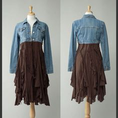 Caitlin: This is a women's repurposed vintage cropped denim jacket and dress. This is from a brand called etsy who sell vintage clothing and accessories online.