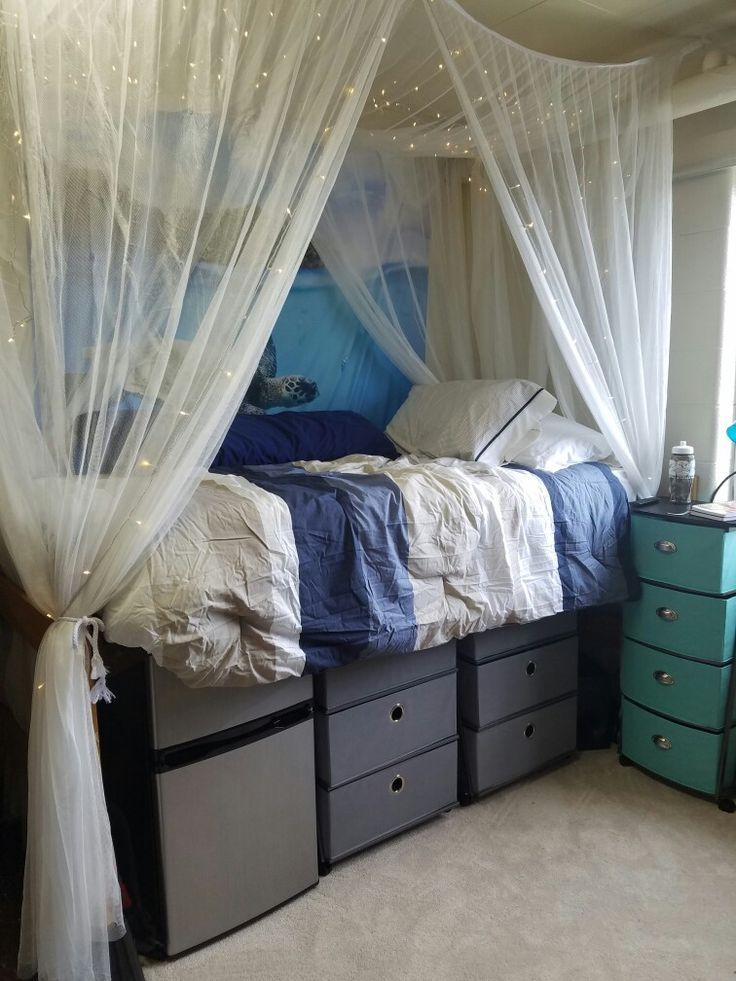 Dream dorm room come to life! Bedding, shelves and canopy from bed bath and beyond while the tapestry is from society6 in size medium. Lights found on ebay. https://www.facebook.com/shorthaircutstyles/posts/1760243770932729