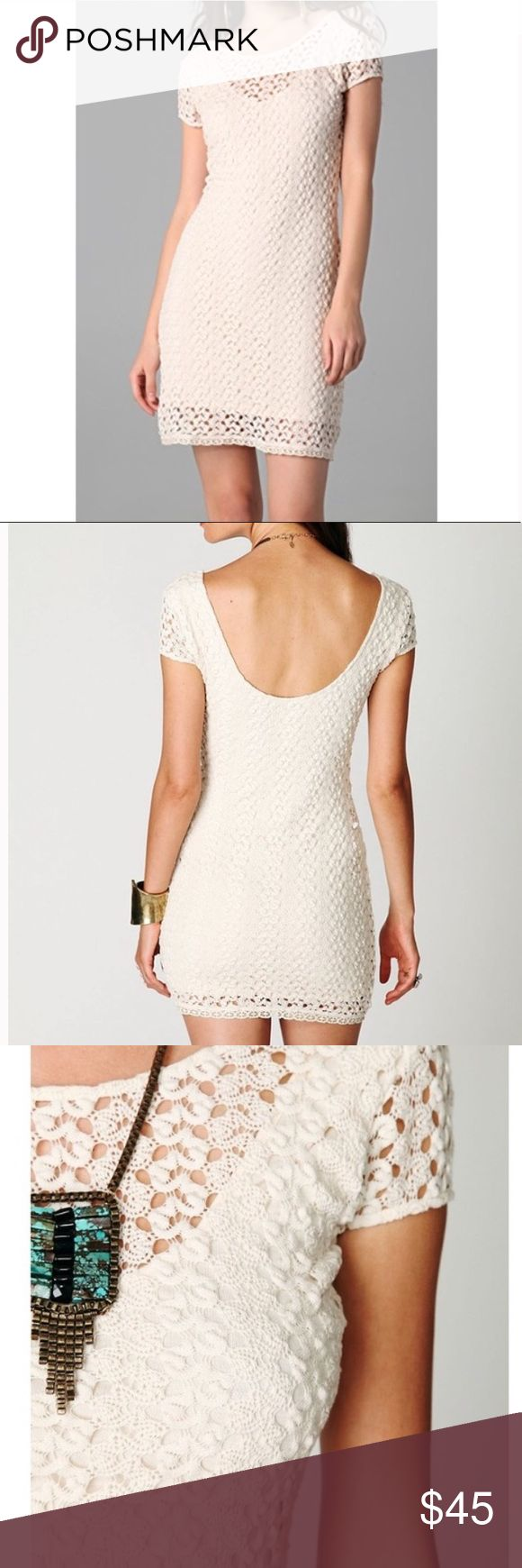 Free People crochet bodycon dress EUC Boho Free People cream colored crochet bodycon dress in EUC. Fully lined. No stains or rips. Fits true to size. Perfect to wear year round! Layer with a chunky sweater, cozy tights, and a cute pair of boots during the fall/winter, or pair with sandals and a chic pair of sunnies in spring/summer.  First 3 pics are stock photos to show fit. Comes from a smoke free home. Reasonable offers welcome.  Tags: Anthropologie urban outfitters French connection ASOS…