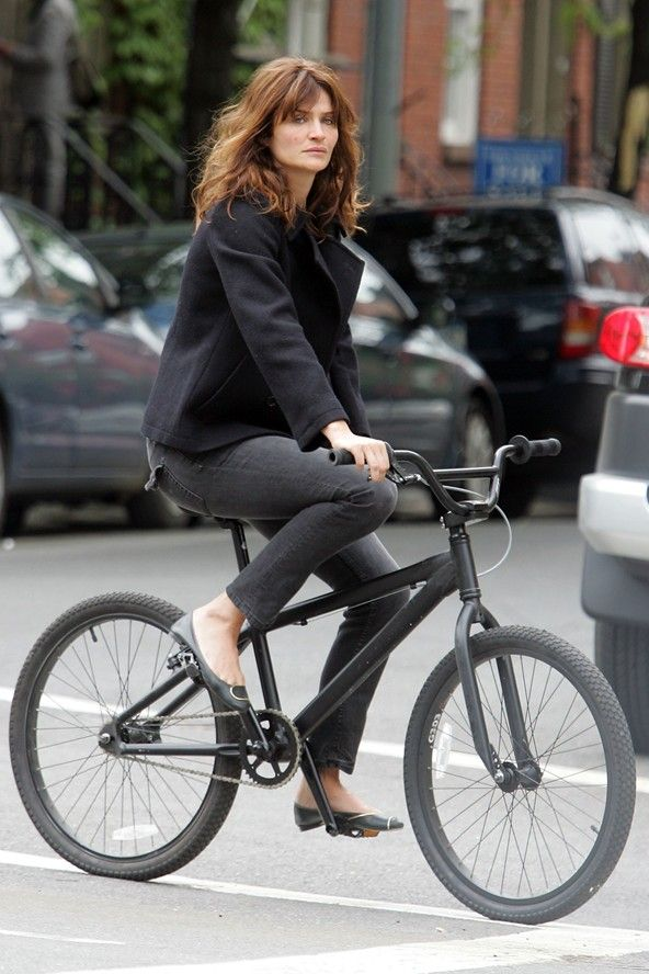 Helena Christensen cycling in New York