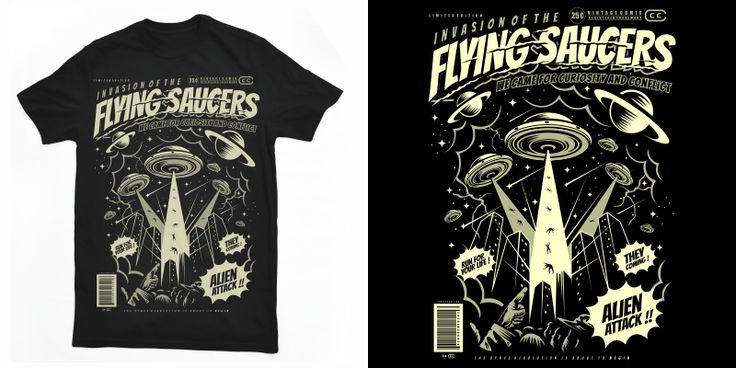 """""""Flying Saucers"""" t-shirt design by roach"""