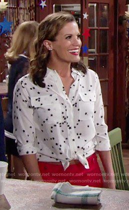 8de74fd7262755 Chelsea s white star print shirt and red shorts on The Young and the  Restless