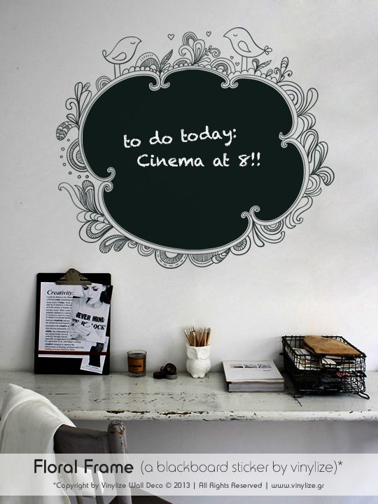 Blackboard Floral Frame - Wall Sticker | Vinylize Wall Deco