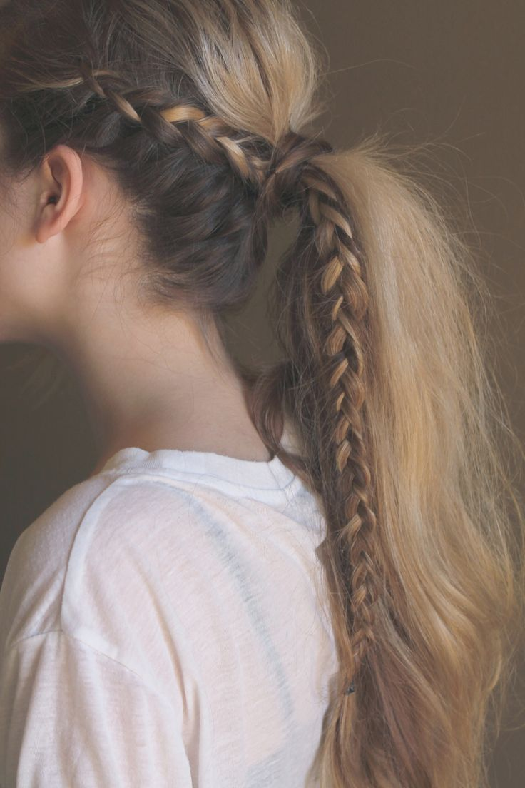 Today we're sharing a new hair tutorial, this messy braided ponytail. It's pretty simple to accomplish and it's a great way to switch up your regular ponytail! XXX Start with dirty hair, curled with a curling wand. We like this one. tease the crown area with a teasing comb to create that messy look. part a section of hair off right behind the ear create an underhanded french braid, adding hair only to the outside section. This helps you avoid that separation from the rest of the pon...