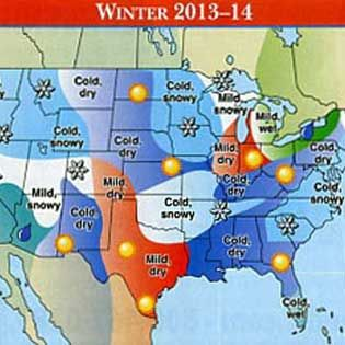 The Old Farmer's Almanac 2014 Weather PredictionsWinter conditions in 2013-2014 for the southern part of the heartland are expected to be snowy, and above average precipitation is expected from Boston down to Atlanta and in the southern part of Florida.  Read more: http://www.grit.com/farm-and-garden/old-farmers-almanac-2014-weather-predictions.aspx#ixzz2ga9Gbz00