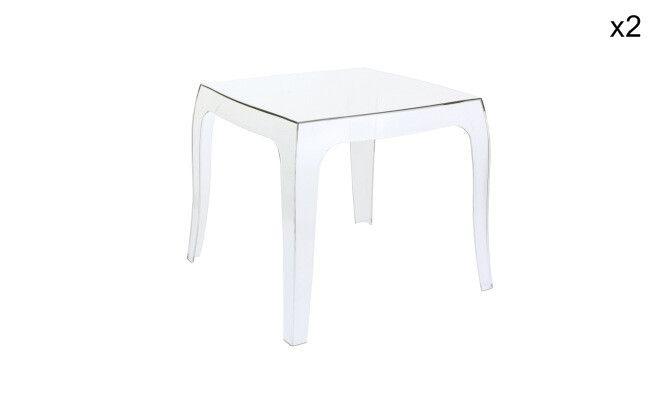 Set di 2 tavolini quadrati Queen   neutro trasparente   51 x 43 x 51 cm