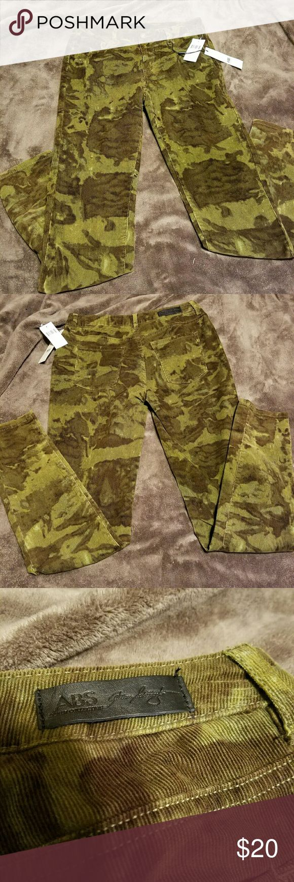 Corduroy camouflage skinny pants Every girl must have a piece of camouflage clothing in their closet!! Bring out the inner bad ass in these camo corduroy skinny pants!! NWT by ABS Allen Schwartz. Im in love with these!! :) ABS Allen Schwartz Pants Leggings