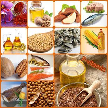 F-vitamint tartalmazó élelmiszerek Növényi olajok: A szójabab-, a sáfrány- és a kukoricaolaj. A lenmagolaj a legjobb forrása az omega-3 zsírsavaknak.Szintén jó forrás még a dióolaj és a repceolaj. Diófélék és magvak: Az egyik legjobb F-vitamin forrása a napraforgómag, de nagyon sokat találunk belőle a fenyőmagban, a pekándióban és a brazil dióban is. Állati termékek: Bizonyos állati termékek is tartalmaznak omega-3 zsírsavakat, különösen a hal, mint például a lazac, a tonhal és a lapos hal.