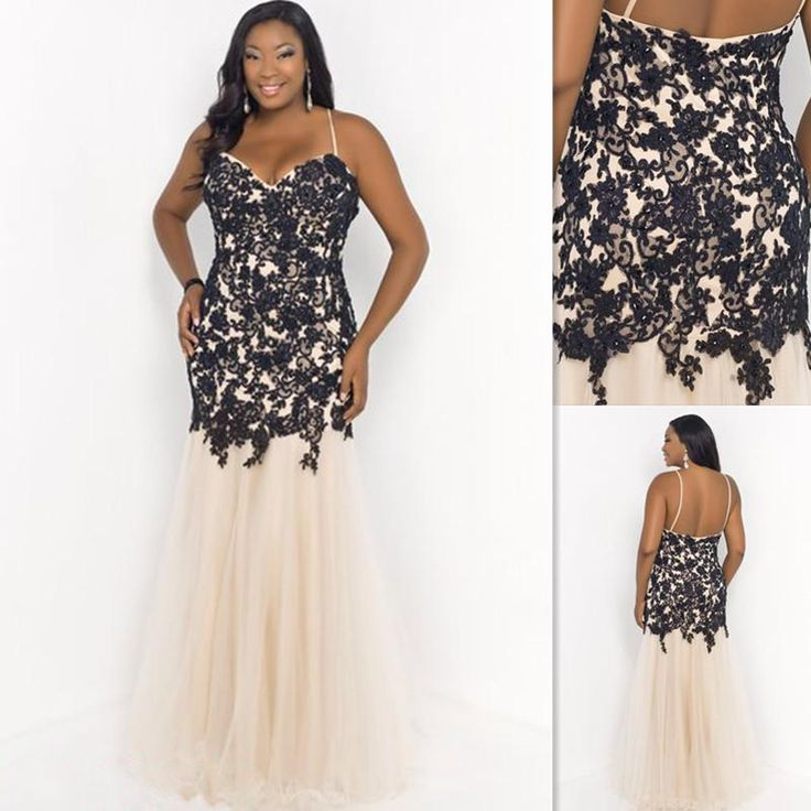 Plus Size Prom Dresses 2015 Patterns Champagne And Black Spaghetti Straps Appliques Lace Open Back Evening Gowns Special Party Dress Canada Discount Plus Size Womens Clothing Fashion For Plus Size Women From Firstladybridal, $96.75| Dhgate.Com