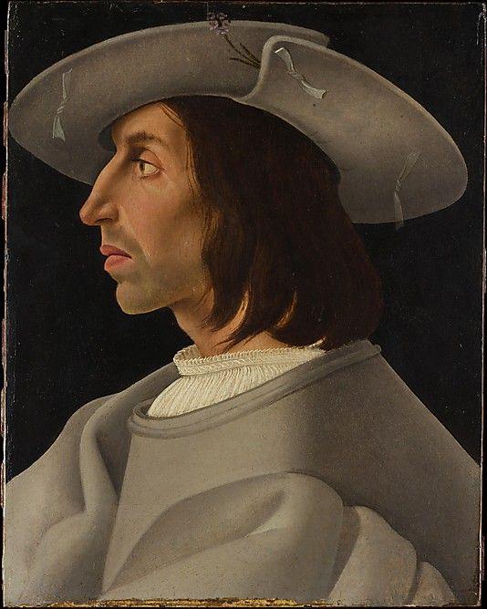 Portrait of a Man in Profile ? Italian Painter (ca. 1525) Medium: Oil on wood Dimensions: 13 1/4 x 10 1/2 in. via Met Museum, NY
