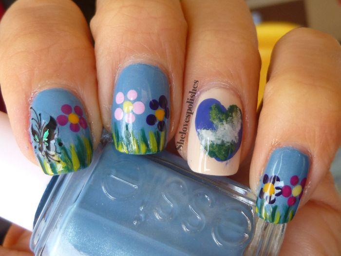 Earth Day nail art
