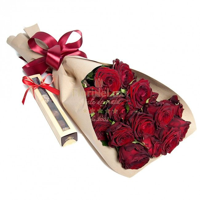 Romantic red roses and Chocolate! A perfect gift for her!