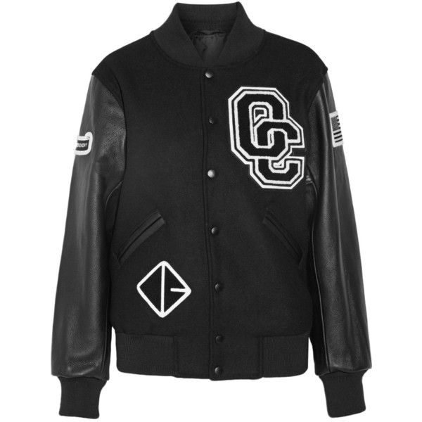 Opening Ceremony Appliquéd wool-blend twill and leather bomber jacket ($410) ❤ liked on Polyvore featuring outerwear, jackets, black, college jacket, leather letterman jacket, genuine leather jackets, varsity jacket and american flag leather jacket