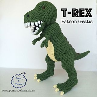 Dinosaurio T-Rex by Puntos de Fantasia. Free pdf, 10/15