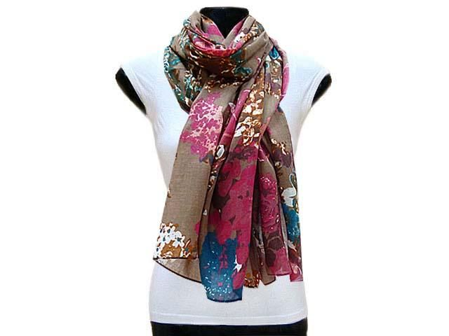 LARGE TAUPE BROWN FLORAL PRINT LIGHTWEIGHT SCARF, £7.99 - A-SHU.CO.UK