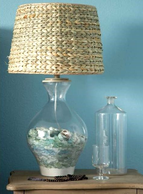 beach lamp fillable glass table lamp with seaglass collection. Black Bedroom Furniture Sets. Home Design Ideas