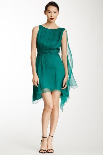 MAXSTUDIO.COM Silk V-Back Pleated Dress by Non Specific on @HauteLook