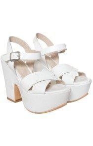 Mary Joe - Sandalias plataforma Forrada Cuero blanco