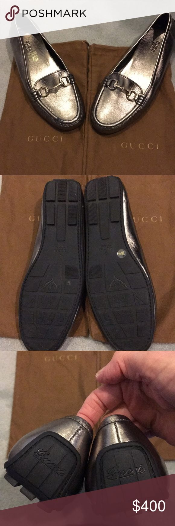 Gucci silver driving shoes! Gorgeous Gucci driving shoes with cute tread design! Worn 2-3 times! Has a tiny flaw on the right shoe as shown in picture. Not real noticeable when wearing. Price reflects this! Gucci Shoes Flats & Loafers