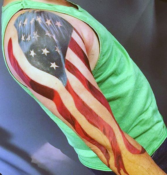 Sleeve Man With American Flag Tattoo