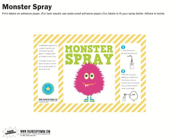 Monster Spray Free Printable Label - Pink