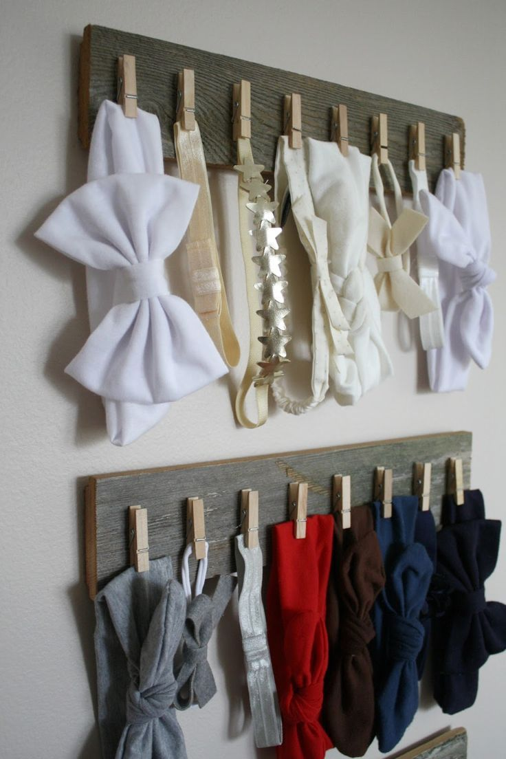 DIY rustic hair bow / head band organization. Pin found by Freebies-For-Baby.com